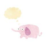 elefante divertido de la historieta pequeño con la burbuja del pensamiento Foto de archivo libre de regalías
