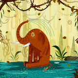 Elefante do animal selvagem no fundo da floresta da selva ilustração stock