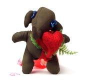 Elefante do brinquedo do divertimento com um coração. Imagem de Stock Royalty Free