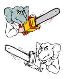Elefante do GOP com uma serra de cadeia fotos de stock