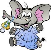 Elefante do menino nos pijamas que guardam uma chupeta Imagem de Stock Royalty Free