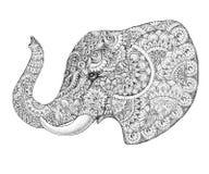 Elefante do perfil da tatuagem com testes padrões e ornamento Foto de Stock