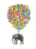 Elefante do voo ilustração royalty free