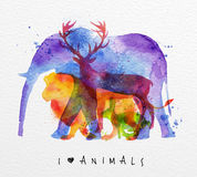Elefante dos animais do Overprint ilustração royalty free