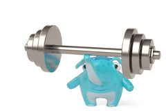 Elefante dos desenhos animados no halterofilismo, ilustração 3D Foto de Stock Royalty Free