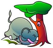 Elefante e árvore fotografia de stock