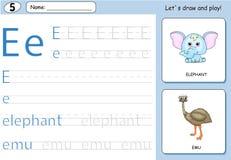 Elefante e emù del fumetto Foglio di lavoro di rintracciamento di alfabeto royalty illustrazione gratis