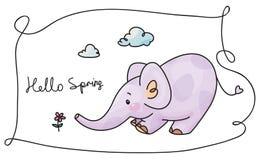 Elefante e flor do vetor Foto de Stock Royalty Free