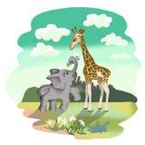 Elefante e giraffa nell'amore Una grande amicizia di due animali illustrazione vettoriale