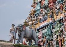 Elefante e gopuram al tempio di shiva di Kottaiyur Fotografia Stock Libera da Diritti