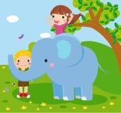 Elefante e la gente illustrazione di stock