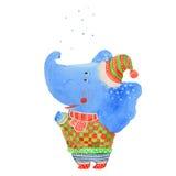 Elefante e neve Fotografie Stock Libere da Diritti