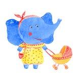 Elefante e passeggiatore illustrazione di stock
