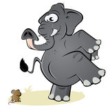 Elefante e rato Fotografia de Stock