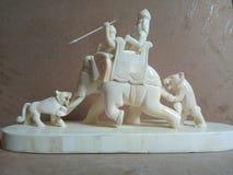 Elefante e tigre do osso da caça Imagem de Stock