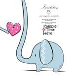 Elefante e un cuore rosa Fotografia Stock