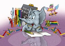 Elefante en escuela Imagen de archivo libre de regalías