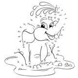 Elefante engraçado dos desenhos animados Ponto para pontilhar o jogo Fotos de Stock Royalty Free