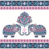 Elefante etnico del loto indiano grafico d'annata di vettore Tri africano royalty illustrazione gratis