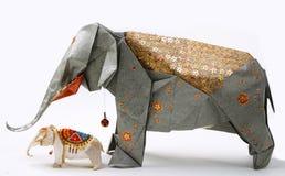Elefante fatto a mano di origami Fotografia Stock