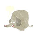 elefante feliz de la historieta con la burbuja del discurso Foto de archivo