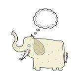 elefante feliz de la historieta con la burbuja del pensamiento Imagen de archivo