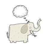 elefante feliz de la historieta con la burbuja del pensamiento Fotografía de archivo