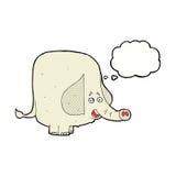 elefante feliz de la historieta con la burbuja del pensamiento Foto de archivo libre de regalías