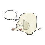 elefante feliz de la historieta con la burbuja del pensamiento Foto de archivo