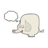elefante feliz de la historieta con la burbuja del pensamiento Fotos de archivo libres de regalías