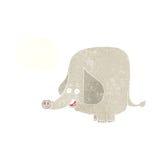 elefante feliz de la historieta con la burbuja del pensamiento Imagen de archivo libre de regalías