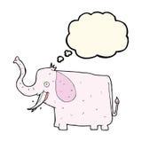 elefante feliz de la historieta con la burbuja del pensamiento Imágenes de archivo libres de regalías