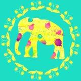 Elefante giallo luminoso della pittura acquerella, illustrazione sveglia f royalty illustrazione gratis