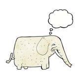 elefante grande de la historieta con la burbuja del pensamiento Imagen de archivo
