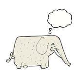 elefante grande de la historieta con la burbuja del pensamiento Foto de archivo