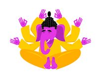 Elefante hindú de la yoga de Ganesha animal indio de dios stock de ilustración