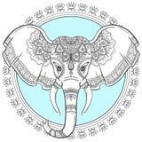 Elefante indiano astratto con la mandala Elefante intagliato royalty illustrazione gratis