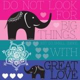 Elefante indiano con il vettore di amore Immagine Stock Libera da Diritti