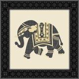 Elefante indiano do estilo do batik ilustração royalty free