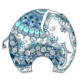 Elefante indio adornado azul del vector libre illustration