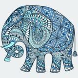 Elefante indio adornado azul del vector ilustración del vector