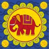 Elefante indio con la mandala Imágenes de archivo libres de regalías