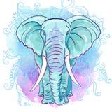 Elefante indio del vector en la mancha blanca /negra de la acuarela Fotografía de archivo