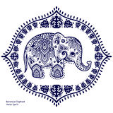 Elefante indio del vintage con los ornamentos tribales Saludo de la mandala Imagen de archivo libre de regalías