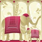 Elefante indio, madre y bebé ilustración del vector