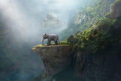 Elefante indio, Taj Mahal, la India, paisaje de la fantasía