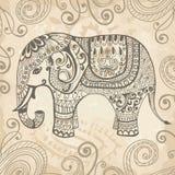 Elefante laçado estilizado ilustração stock