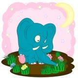 Elefante lindo en el vector de la historieta del prado stock de ilustración