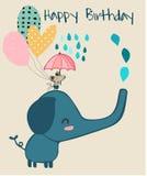 Elefante lindo y pequeño ratón que sostienen el paraguas, tarjeta de cumpleaños stock de ilustración