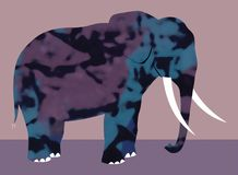 Elefante multicolor con los colmillos libre illustration